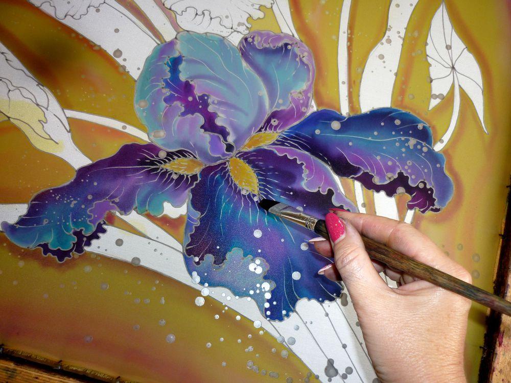 батик, цветы
