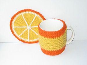 """Комплект грелка, подставка, кружка """"Апельсин"""". Ярмарка Мастеров - ручная работа, handmade."""
