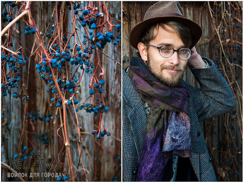 подарок мужчине, felttown, войлок для мужчин, валяный шарф