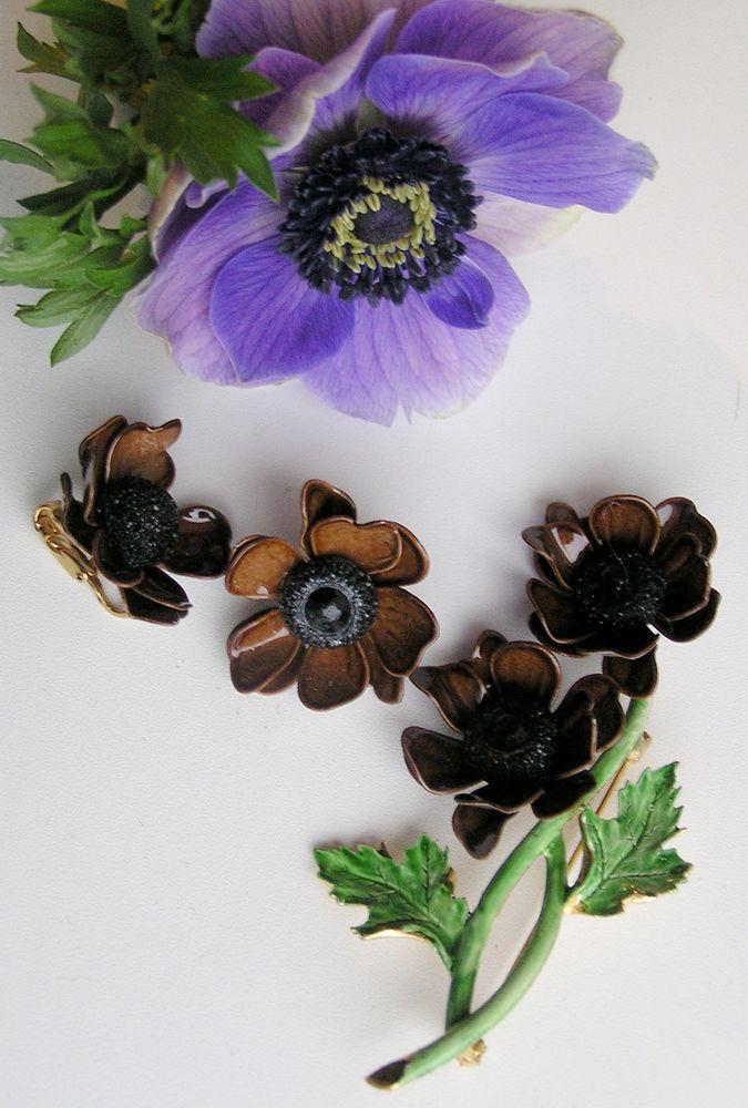 брошь-цветок, комплект украшений