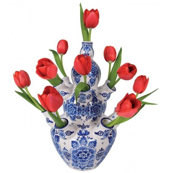 #Red tulips in a Delft #Tulip Vase - Such a great idea, especially for people like me who can't arrange #flowers.