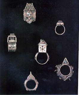 14th Century Jewish Wedding Rings and Objects of Matrimony Marriage Casket, Ketubot, Mahzor images, Communal Wedding Rings, Treasure Troves from Plague Programs 1349-51, Synagogue Mikvah Architectual Fragments, Double Kiddush Cups: