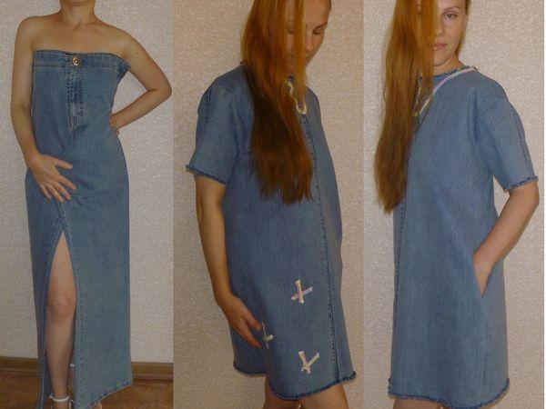5721c6f89e5cb7a Как сшить платье из джинсовых брюк за три часа | Ярмарка Мастеров - ручная  работа,
