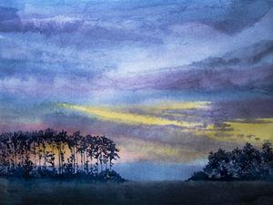 Рисуем пейзаж на закате акварелью. Ярмарка Мастеров - ручная работа, handmade.