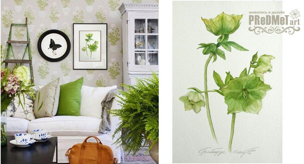 морозник, цветы акварелью, картина для интерьера, реалистичные цветы, декорирование, синий