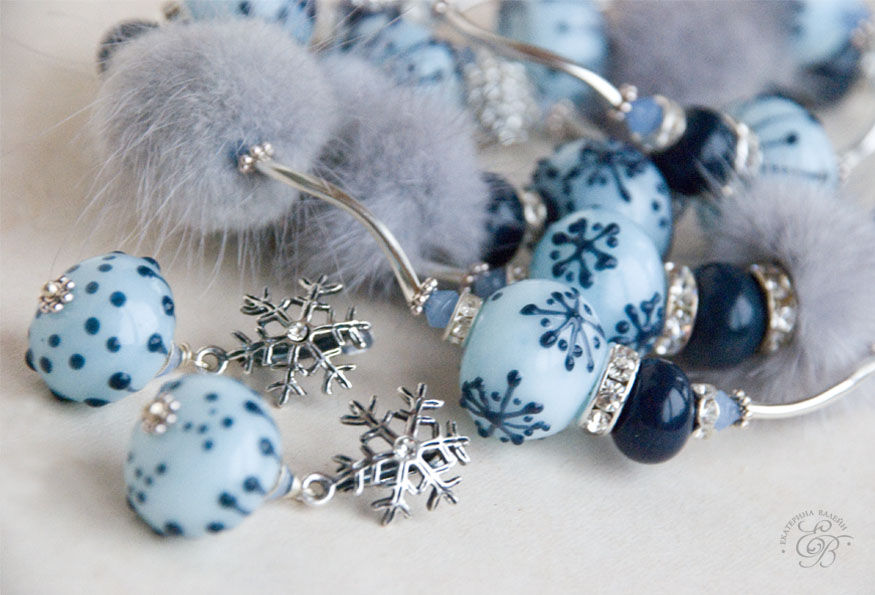 зима, мех, авторские украшения, галерея лэмпворк, lampwork