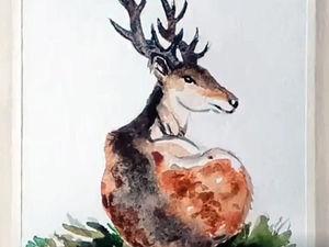 Рисуем акварелью красавца оленя: видеоурок. Ярмарка Мастеров - ручная работа, handmade.