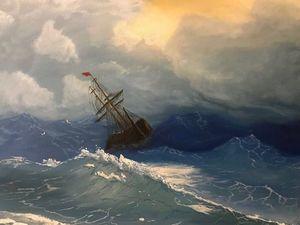 Рисуем картину маслом «Море» по мотивам Айвазовского. Ярмарка Мастеров - ручная работа, handmade.