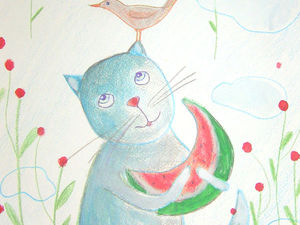 Смешная  кошка  -раскоряка.. Ярмарка Мастеров - ручная работа, handmade.