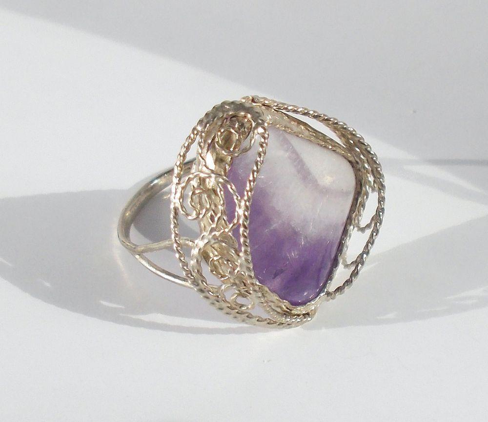 кольцо с аметистом скань, техника филигрань