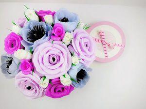 Создаем нежный букетик роз и анемонов из гофрированной бумаги с конфетами. Ярмарка Мастеров - ручная работа, handmade.