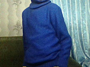 ЗАКРЫТ - Аукцион на васильковый фактурный свитер. СТАРТ 1200 руб. Ярмарка Мастеров - ручная работа, handmade.
