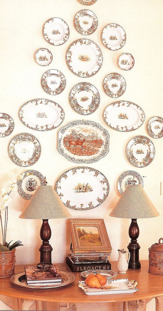 Plates display - monochrome color with round and oval plates for pattern.