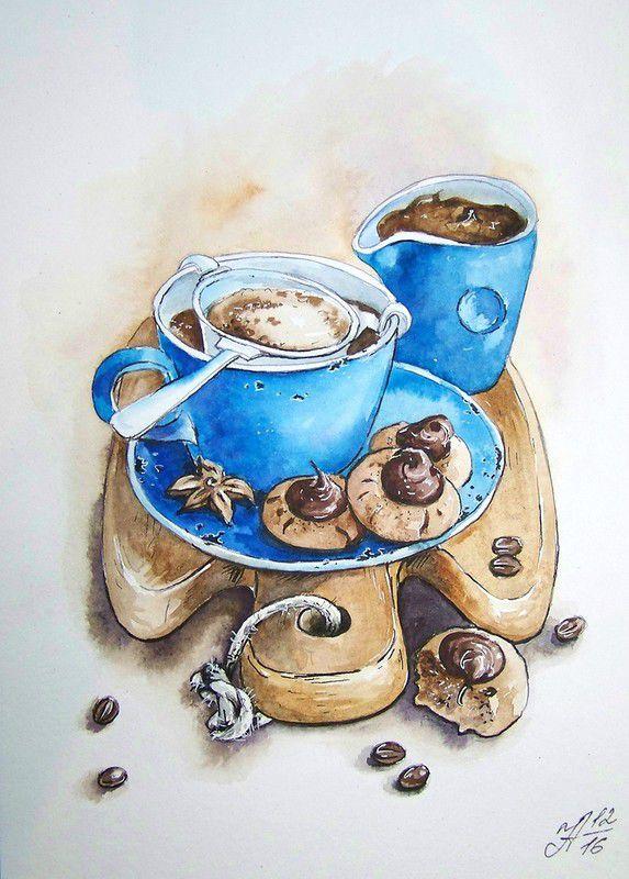 Рисунок с кофейной тематикой, день народного единства
