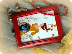 Создаём рамочку для УЗИ «Княжна Осень» в технике росписи по стеклу. Ярмарка Мастеров - ручная работа, handmade.