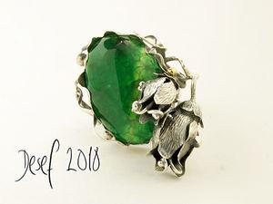 Кольцо  «Поэзия лилии»  с камнем вены дракона. Ярмарка Мастеров - ручная работа, handmade.