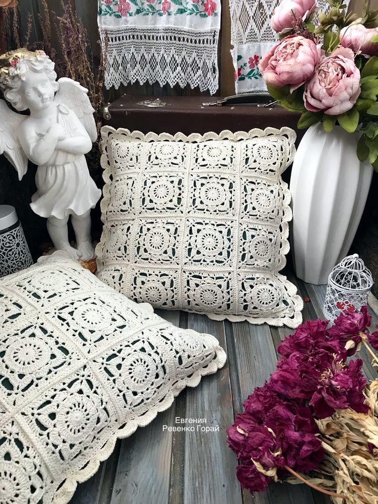 наволочка, вязаные изделия, подушка декоративная, вязание на заказ, прованский стиль