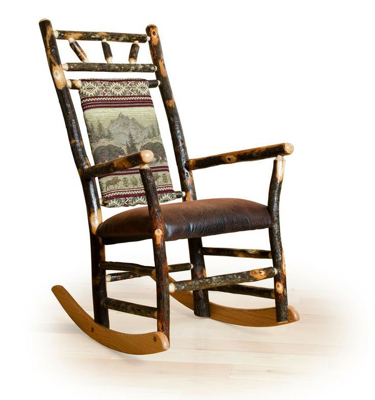 Rustic hickory rocker with upholstered back and faux brown leather seat.  Amish made in the USA.