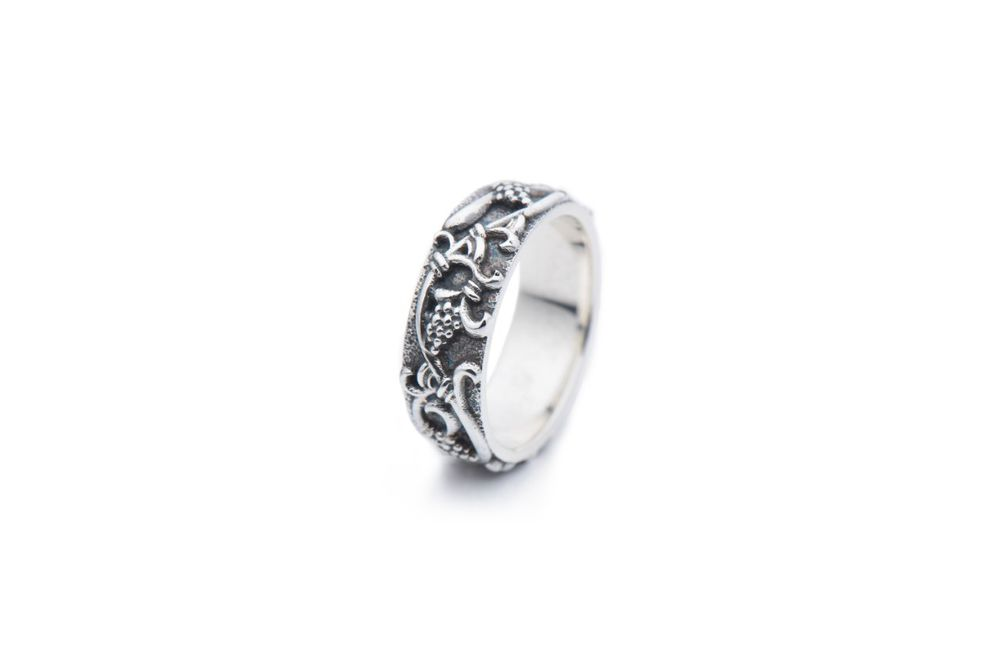 кольцо из серебра, гроздья винограда, вино, серебро 925 пробы, новинка, готика, узор