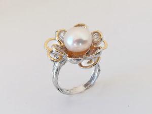 Видео кольца с белым жемчугом. Серебро 925 пробы. Ярмарка Мастеров - ручная работа, handmade.