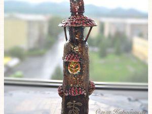 Декорирование бутылки «Домик». Ярмарка Мастеров - ручная работа, handmade.