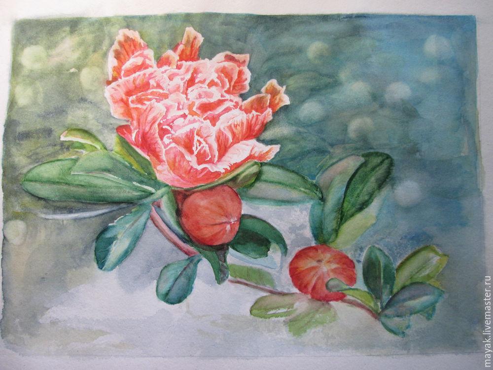 мк цветы акварель, пошагово рисовать