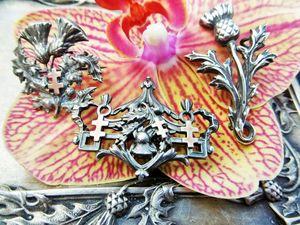 Скоро три броши с чертополохом из серебра с золотыми крестами!. Ярмарка Мастеров - ручная работа, handmade.
