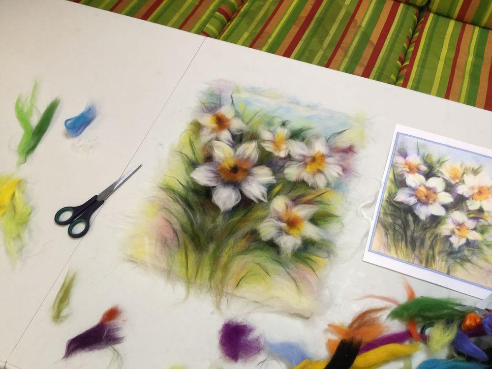мастер-класс, живопись шерстью мк, картины из сухой шерсти