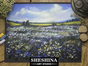Видеоурок: рисуем ромашковое поле сухой пастелью. Ярмарка Мастеров - ручная работа, handmade.