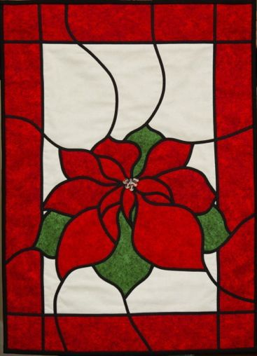 Stained glass pointsettia wall hanging