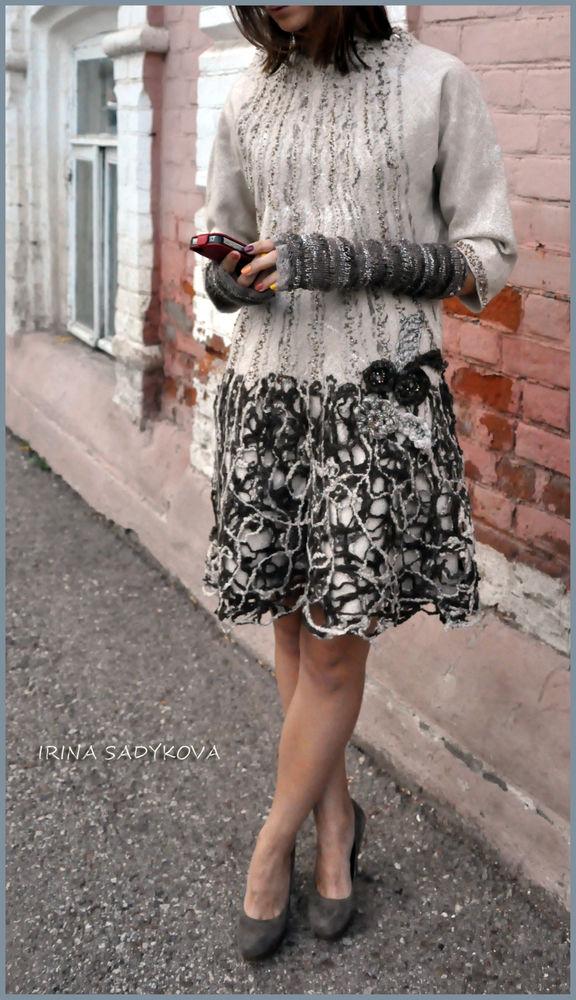 мастер-класс по валянию, цельноваляное платье, шерстяное платье, нуно-войлок
