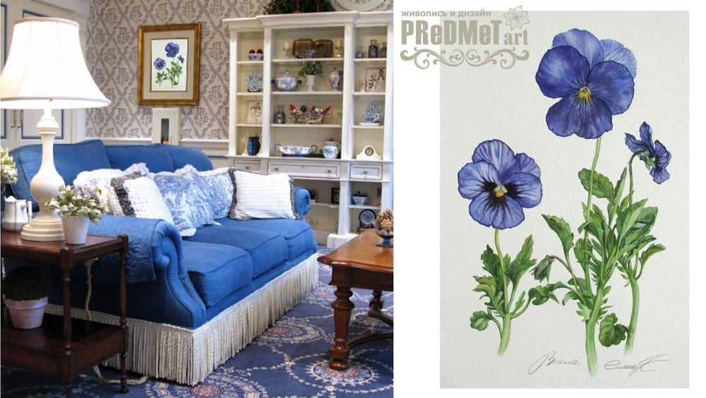 картина с цветами, синий цвет, бежевый, реалистичные цветы, летние цветы, подарок, дизайнерские вещи