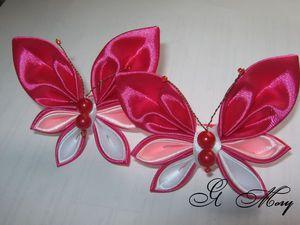 Видеоурок: делаем бабочку канзаши из атласных лент и из ткани. Ярмарка Мастеров - ручная работа, handmade.