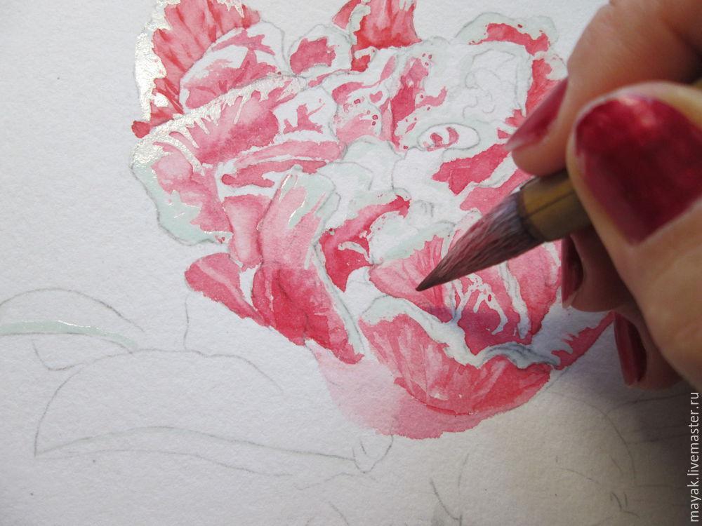 как рисовать акварелью, цветок граната