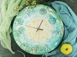 Декорируем часы «Город детства». Работаем в технике имитации керамики. Ярмарка Мастеров - ручная работа, handmade.