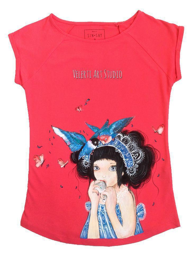 аукцион, аукцион сегодня, аукционы, футболка с рисунком, футболка, футболки, футболка с росписью, футболка женская, розовый цвет, для девушки, для женщин, для девочки, птицы, фантазийный сюжет, девочка, ручная роспись, 100% хлопок, распродажа