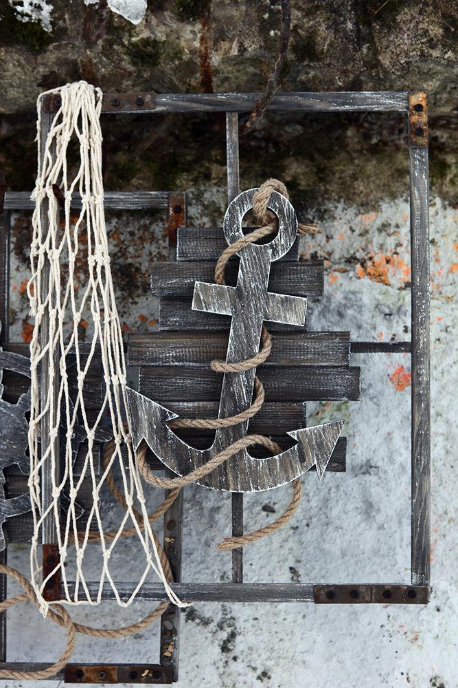 моской стиль, панно со штурвалом, старый боцман