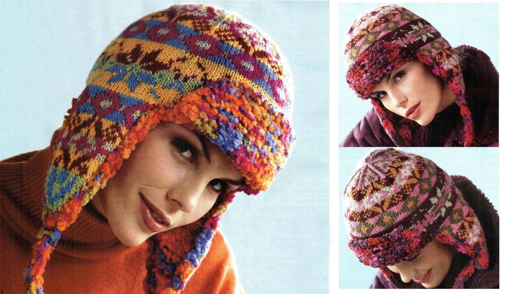 теплые интересные и очень необычные вязаные шапочки с ушками