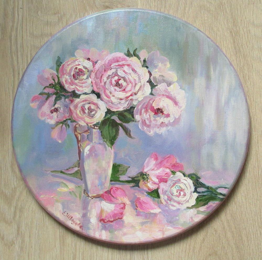 круглая картина маслом, купить картину в москве, картина для интерьера, живопись в радость