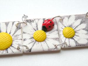 Делаем браслет «Ромашки» из полимерной глины | Ярмарка Мастеров - ручная работа, handmade
