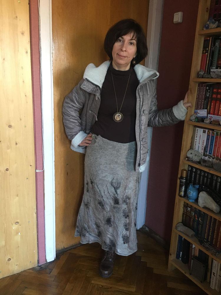 одежда из войлока, валяное платье, цельноваляный рукав