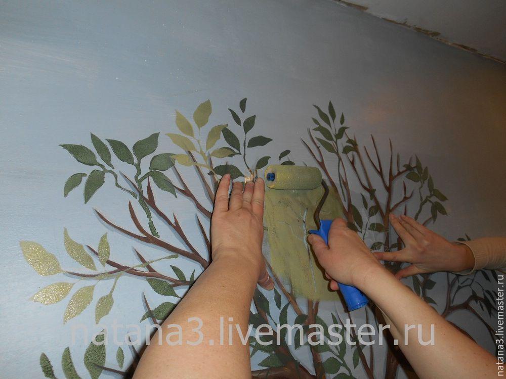 трафарет, покраска стены