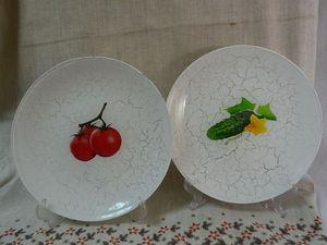Тарелочки «Овощные»: делам обратный декупаж. Ярмарка Мастеров - ручная работа, handmade.