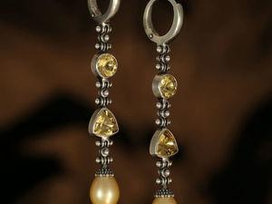 Серьги с цитринами. Серьги с золотым жемчугом. Длинные серьги. Ярмарка Мастеров - ручная работа, handmade.