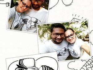 Портрет влюбленной пары на футболке | Ярмарка Мастеров - ручная работа, handmade