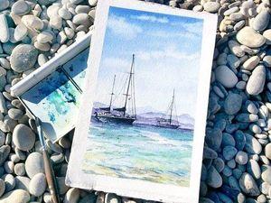 Море рядом. Техника- акварель. | Ярмарка Мастеров - ручная работа, handmade