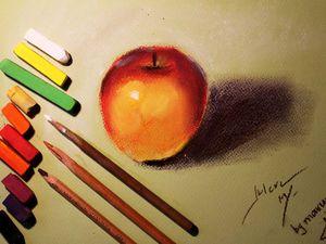 Видео мастер-класс: рисуем яблоко пастелью. Ярмарка Мастеров - ручная работа, handmade.