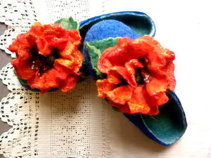 Тапочки-шлепки Алые маки Винсента Ван-Гога. Ярмарка Мастеров - ручная работа, handmade.