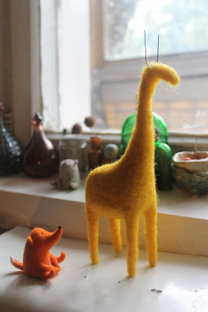 мастер-класс, валяние игрушки, жирафик
