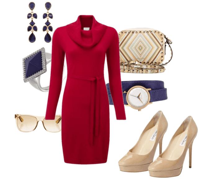 6f1a8729a7a Данная модель красного платья футляр идеально смотрится на девушке и  подчеркивает утонченную фигуру. Добавьте элегантные бежевые туфли на  каблуках.
